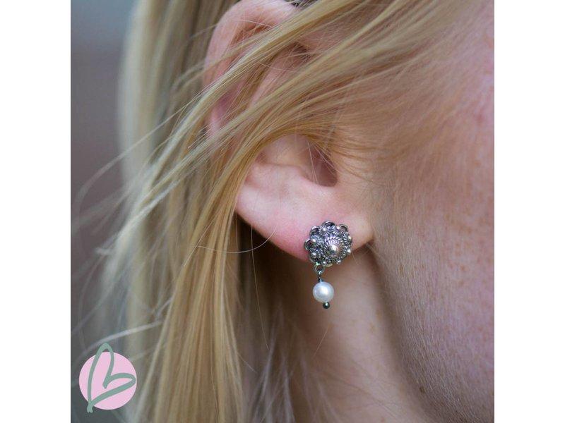 Zeeuws Echt zilveren Zeeuwse knoop oorstekers met parel - Copy