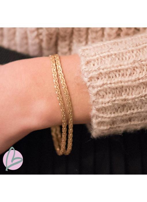 Biba metalen armband goud/burnished gold 'double'