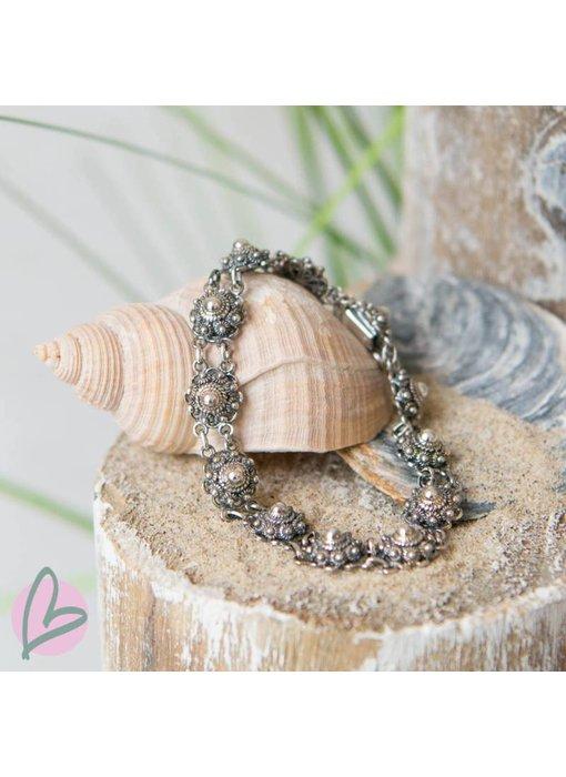 Zeeuws Echt zilveren Zeeuwse knop armband met kleine knopjes 8mm