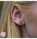 Biba zilverkleurige oorbellen met een rood steentje