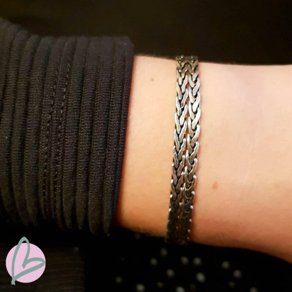 Biba metalen armband zilver 'double' Beadle