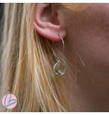 Viva zilverkleurige oorringen met lichtgroene druppel