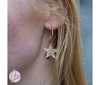 Viva goudkleurige oorringen met groen/bruine druppel en ster