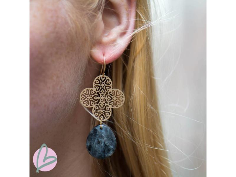 Viva Goudkleurige oorbellen met donkergrijze steen