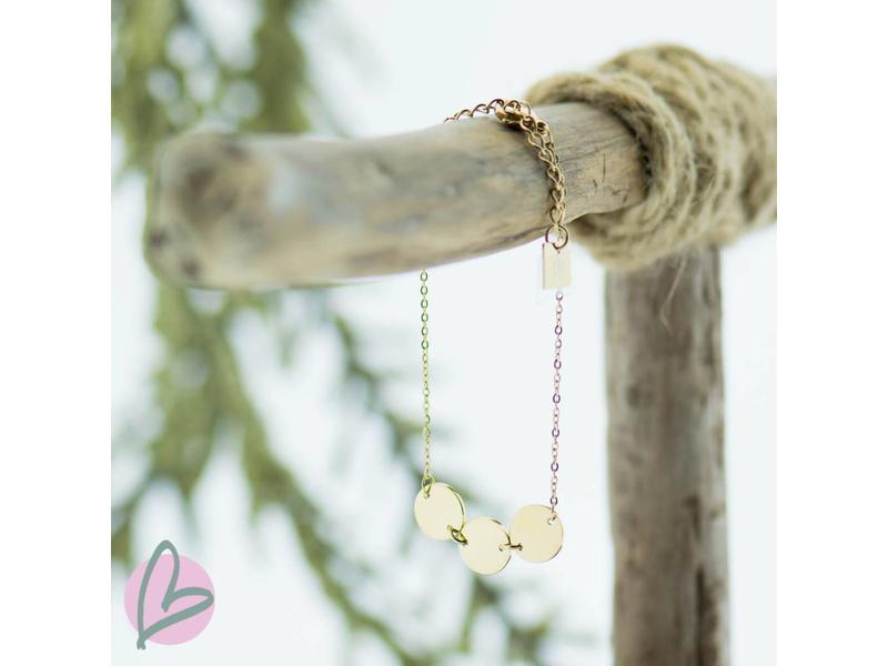 ZAG Bijoux armband goud met drie muntjes