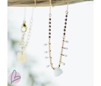 ZAG  Bijoux ketting goud met witte en bruine steentjes