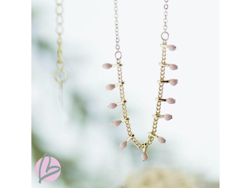 ZAG Bijoux Ketting goud met nude roze kraaltjes