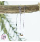 ZAG Bijoux ketting met zilver, goud en roségouden kralen