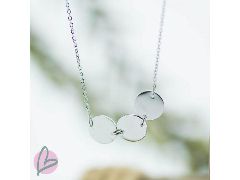 ZAG Bijoux Ketting zilver met drie muntjes