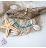 Biba armband met goud en blauwe kralen