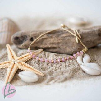Biba armband met goud en roze kralen