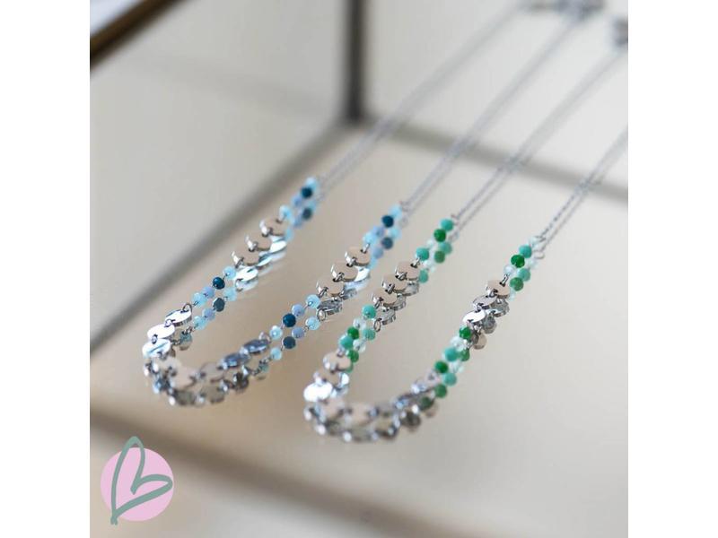 Beadle stainless steel ketting zilver met muntjes en groene kraaltjes