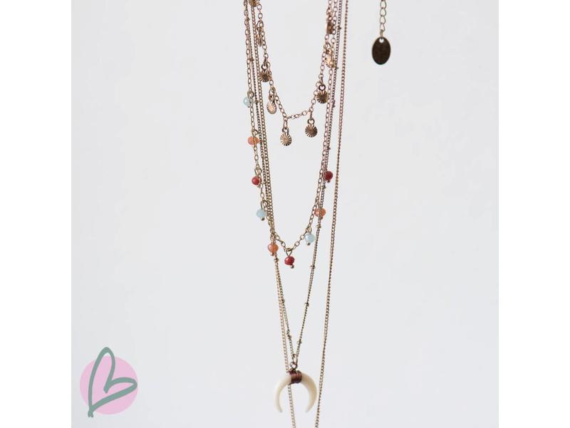 Beadle brons/gouden laagjes ketting bohemian
