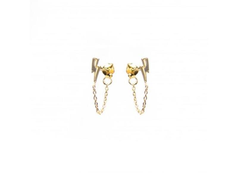 KARMA karma goud oorbellen met bliksem en ketting