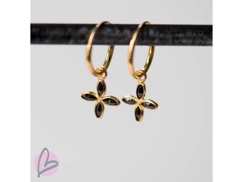 KARMA Hoops Symbols Black Leaf Goldplated