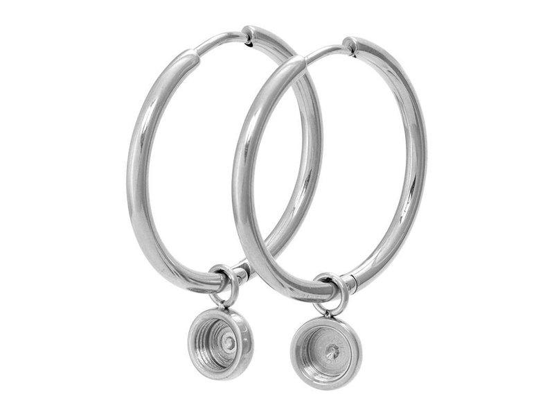 IXXXI top part base creool oorbellen zilver groot 24mm