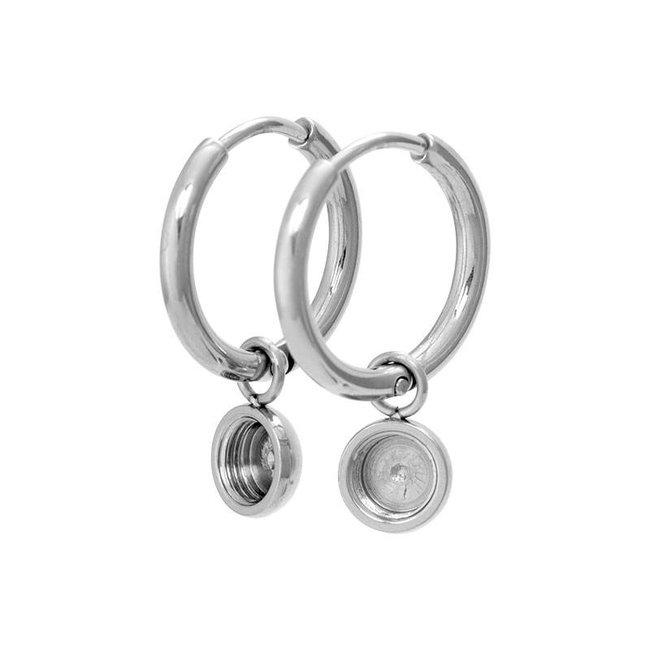 IXXXI top part base creool oorbellen zilver klein 15mm