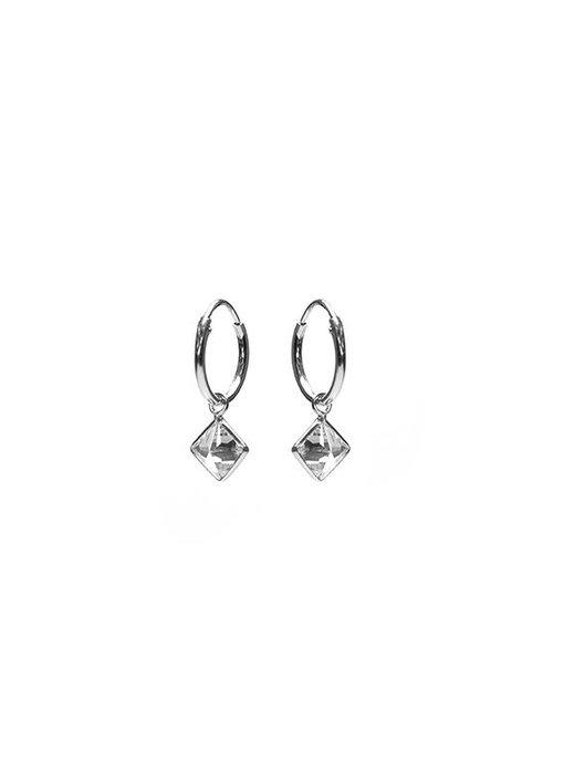 KARMA Hoops Symbols Zirconia Square - Silver 925
