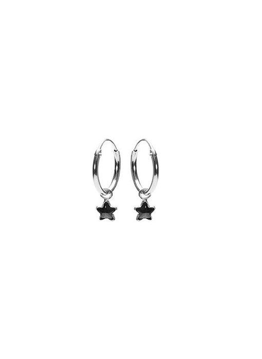 KARMA Hoops Symbols Black Zirconia Star 2 - Silver 925