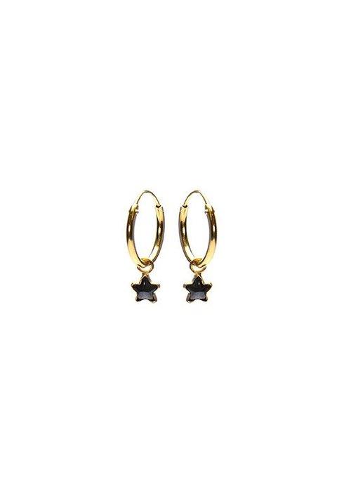 KARMA Hoops Symbols Black Zirconia Star 2 Goldplated