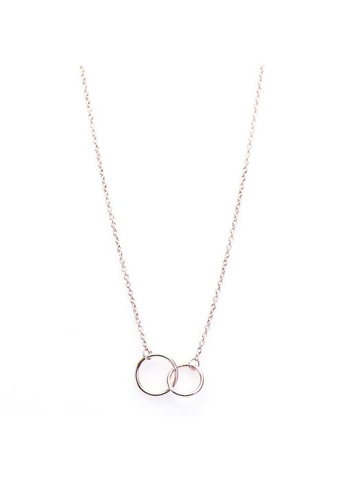 KARMA Necklace Double Circle Roseplated