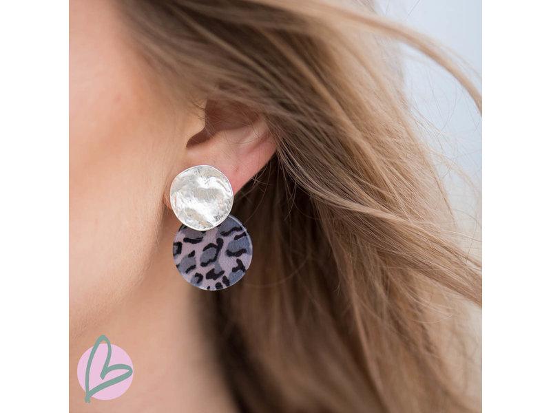 Biba Leopard print oorbellen turquoise/zwart/zilver