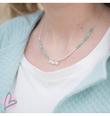 Beadle ketting mat zilver/turquoise met muntjes