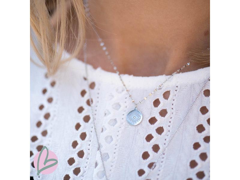ZAG  Bijoux dubbele zilveren ketting met lucky coins