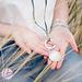 Beadle ketting zeegroen/blauw met zilveren schelp