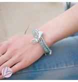 Biba kralenarmband set mat zilver/lichtblauw