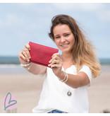 Zeeuws Echt leren zeeuwse knop portemonnee rood