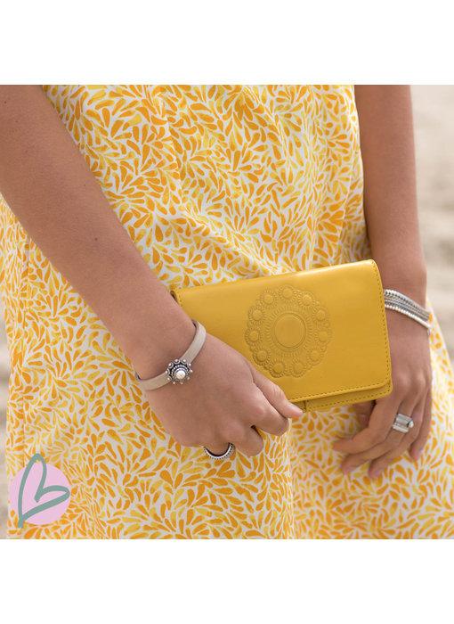 Zeeuws Echt leren zeeuwse knop portemonnee geel
