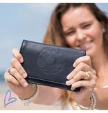 Zeeuws Echt leren zeeuwse knop portemonnee donkerblauw