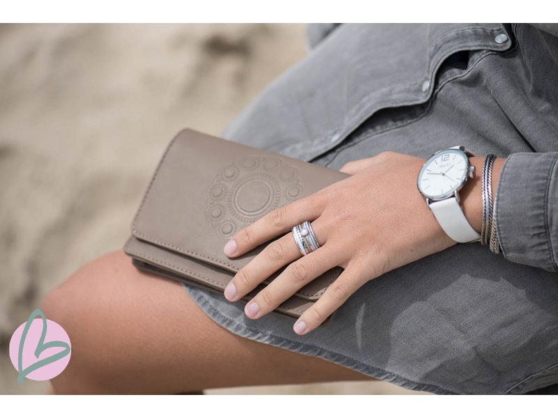Zeeuws Echt leren zeeuwse knop portemonnee taupe