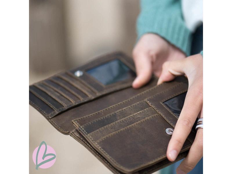 Zeeuws Echt leren zeeuwse knop portemonnee vintage bruin