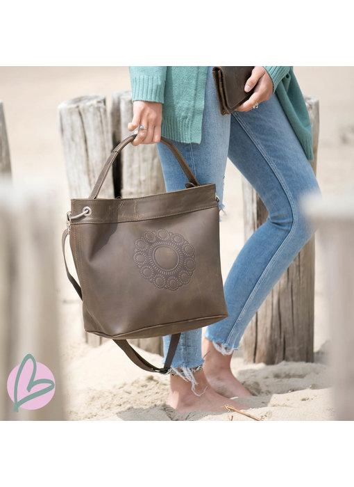 Zeeuws Echt leren Zeeuwse knop damestas vintage bruin