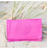 Zeeuws Echt leren zeeuwse knop portemonnee roze