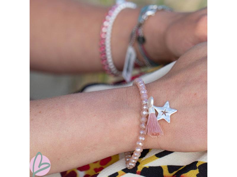 Biba kralenarmband zalm kleur met kwast en ster