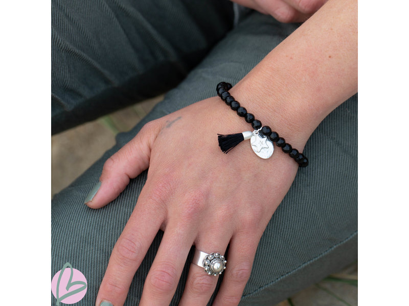 Biba armband zwart met ster en kwast