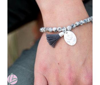 Biba armband grijs  met hartje