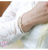 Biba Kralenarmband gemeleerd ovaal wit/blauw