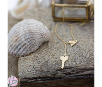 ZAG  Bijoux gouden ketting met sleutel en hart