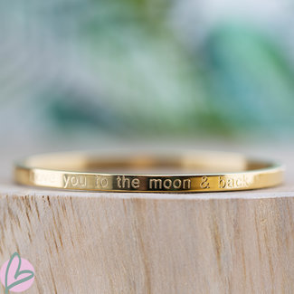 KalliKalli gouden bangle armband 'Love you to the moon and back''