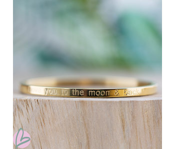 KalliKalli gouden bangle armband 'Love you to the moon and back''