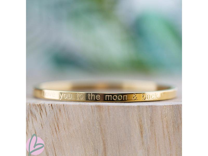 KalliKalli gouden bangle armband ''Love you to the moon and back''