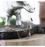 ZAG  Bijoux dubbele gouden ketting met staafjes