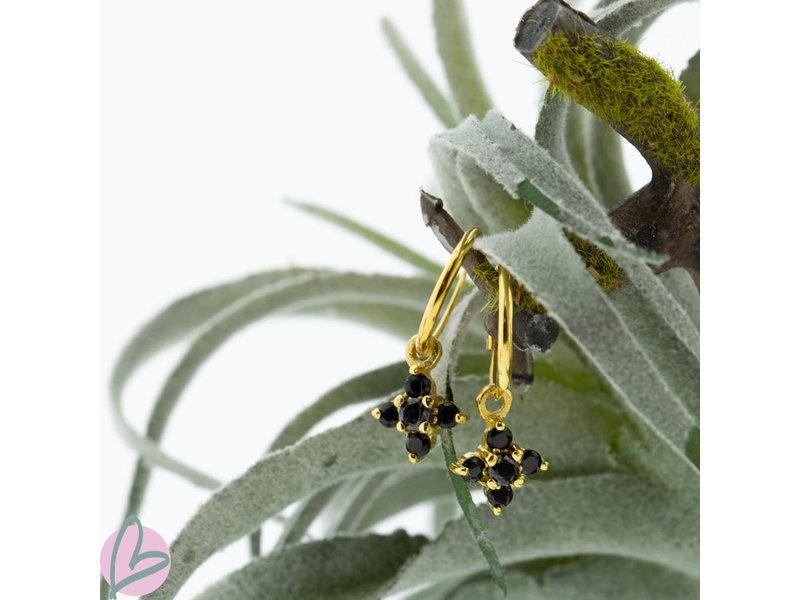 KARMA Oorringen zilver925 met zwarte steentjes goud bloem
