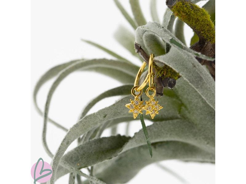 KARMA Oorringen zilver925 met crystal morningstar goud
