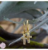KARMA Oorringen zilver925 met crystal kruis goud