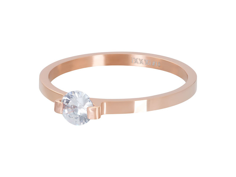 IXXXI aanschuifring 2mm mini glamour stone rosegoud